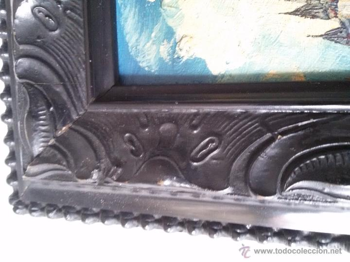 Arte: ÓLEO ANTIGUO SOBRE TABLA-CATEDRAL DE LEÓN CON RELIEVE-FIRMADO-MARCO LABRADO-A MANO - Foto 7 - 54579101