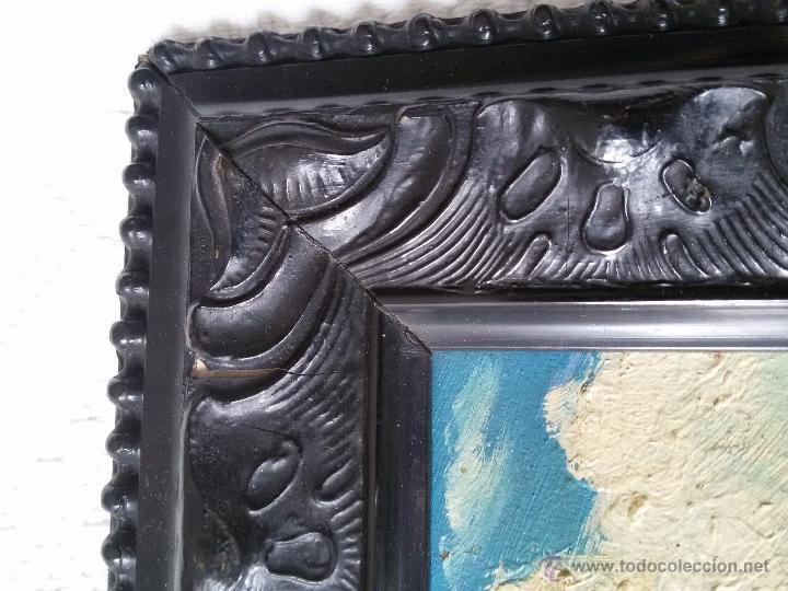 Arte: ÓLEO ANTIGUO SOBRE TABLA-CATEDRAL DE LEÓN CON RELIEVE-FIRMADO-MARCO LABRADO-A MANO - Foto 8 - 54579101