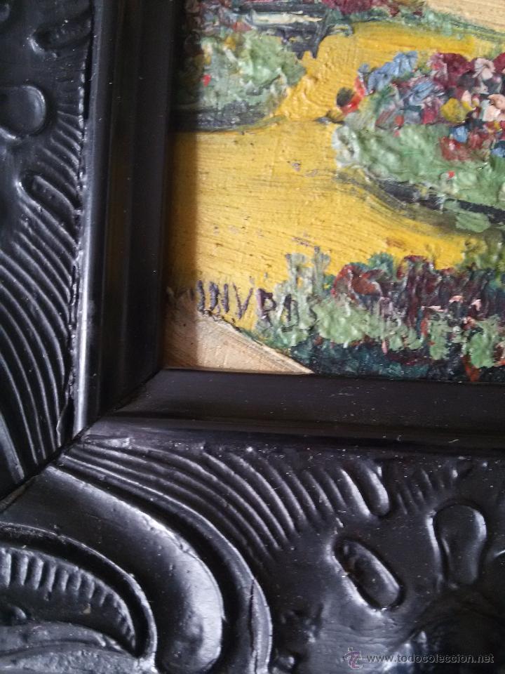 Arte: ÓLEO ANTIGUO SOBRE TABLA-CATEDRAL DE LEÓN CON RELIEVE-FIRMADO-MARCO LABRADO-A MANO - Foto 11 - 54579101
