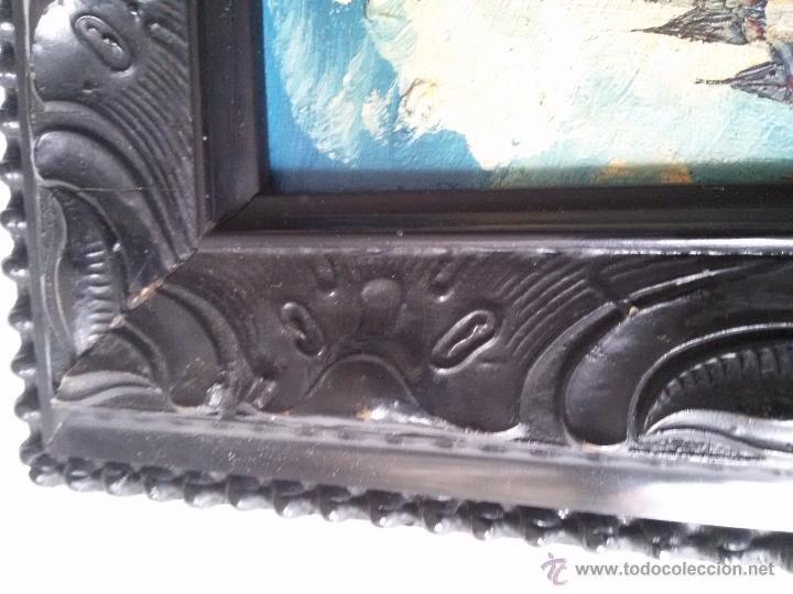 Arte: ÓLEO ANTIGUO SOBRE TABLA-CATEDRAL DE LEÓN CON RELIEVE-FIRMADO-MARCO LABRADO-A MANO - Foto 14 - 54579101