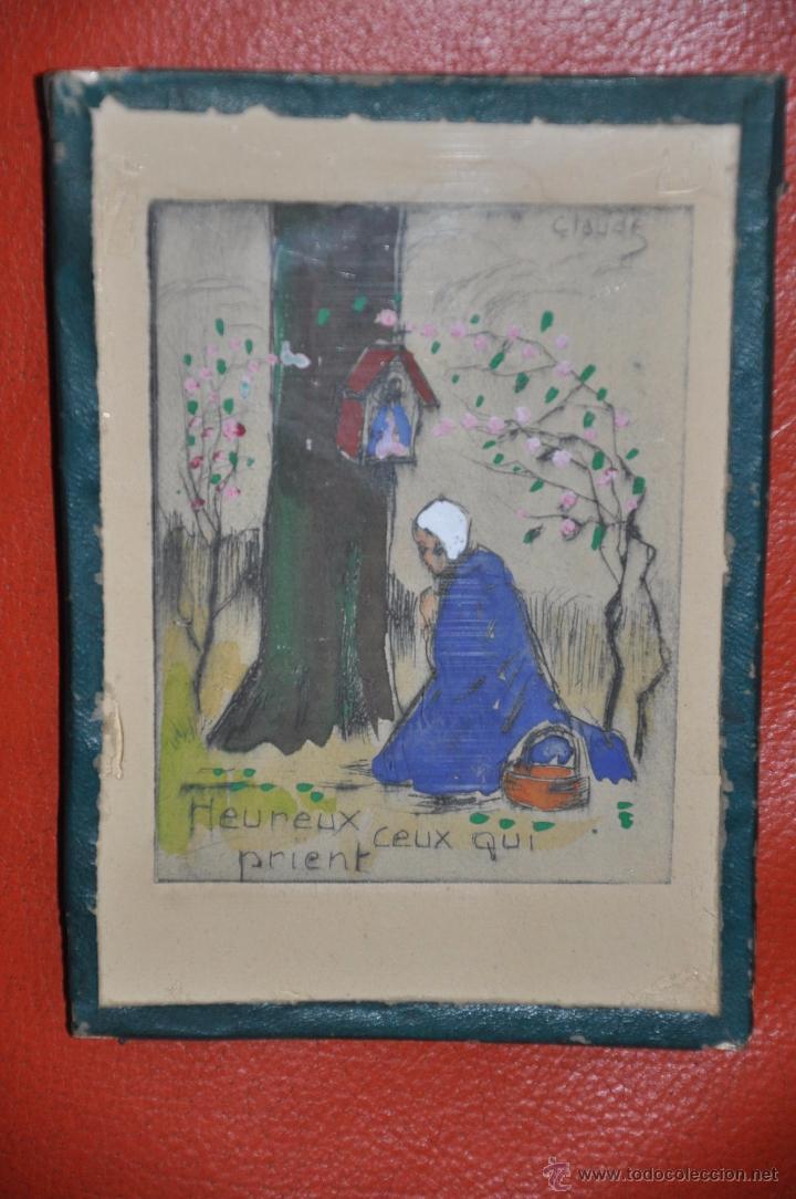 AGUAFUERTE ORIGINAL DE TEMA RELIGIOSO , FIRMADO CLAUDE , DEL XIX (Arte - Arte Religioso - Grabados)