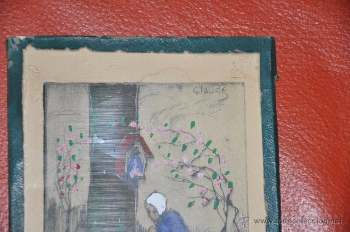 Arte: aguafuerte original de tema religioso , firmado CLAUDE , del XIX - Foto 4 - 54632107