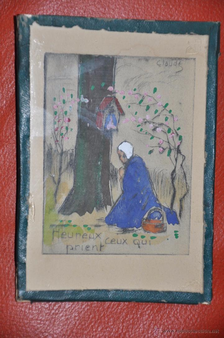 Arte: aguafuerte original de tema religioso , firmado CLAUDE , del XIX - Foto 5 - 54632107