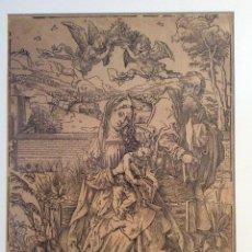 Arte: ALBERTO DURERO GRABADO C. 1496 . SAGRADA FAMILIA CON TRES LIEBRES. Lote 54632576