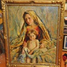 Arte: RAFAEL ESTRANY I ROS (MATARÓ, 1884 - BARCELONA, 1958) OLEO SOBRE TELA. VIRGEN CON NIÑO. Lote 54688875