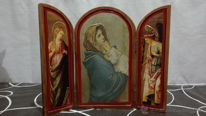 TRIPTICO VIRGEN CON NIÑO Y ÁNGELES (Arte - Arte Religioso - Trípticos)