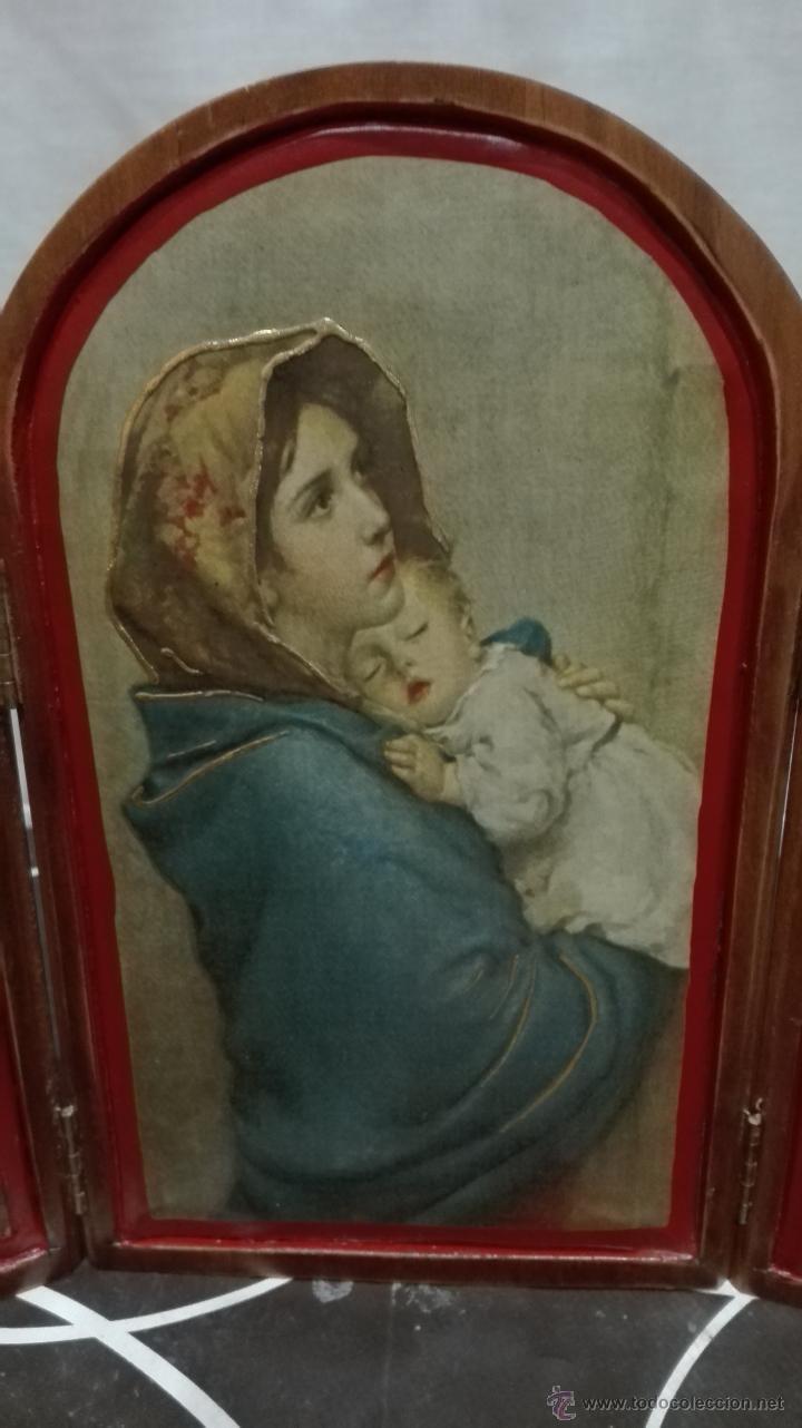 Arte: Triptico virgen con niño y Ángeles - Foto 2 - 54714655