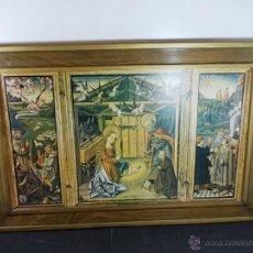 Art: CUADRO TIPO TRIPTICO RELIGIOSO EN LAMINA Y ENMARCADO. Lote 54779045
