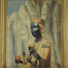 Arte: A2-086. VIRGEN DE MONTSERRAT. ÓLEO SOBRE LIENZO. FIRMADO M. LORENTE. 1959.. Lote 52995877