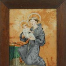 Arte: F2-005. SAN ANTONIO. ESMALTE SOBRE CRISTAL. SIGLO XVIII-XIX.. Lote 49918341