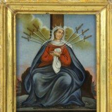 Arte: F2-007. VIRGEN DE LA DOLOROSA. ESMALTE SOBRE VIDRIO. SIGLO XVIII-XIX.. Lote 49919010
