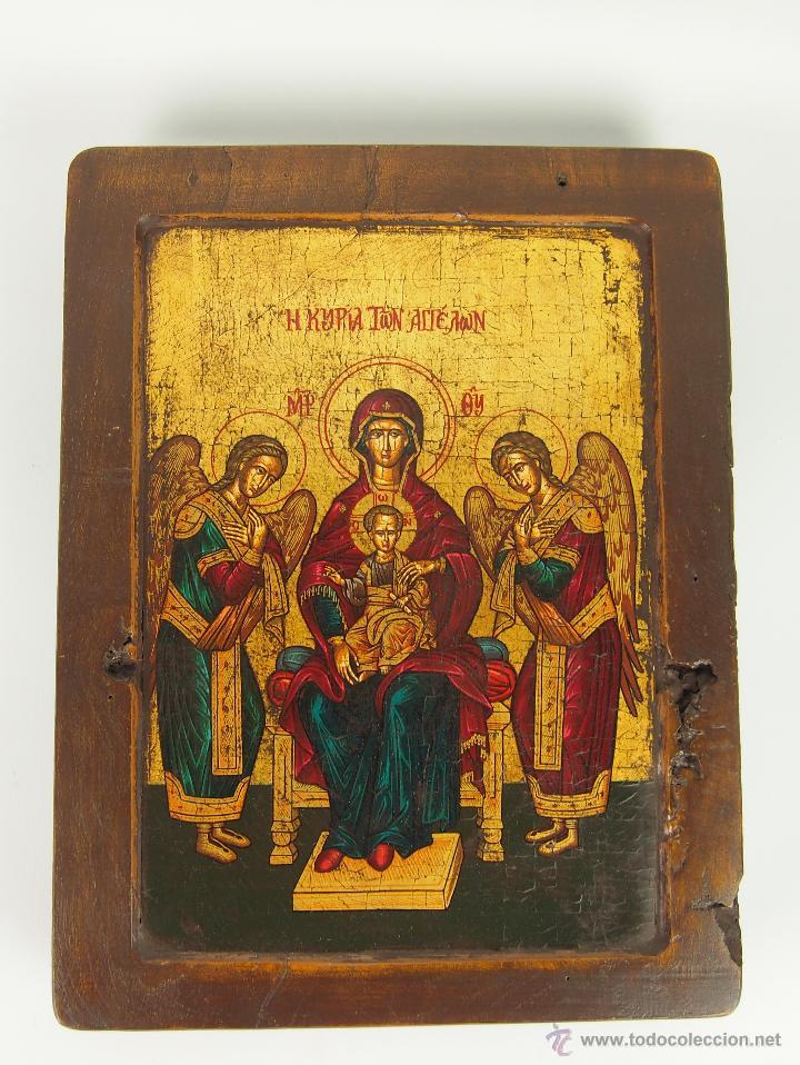 ICONO GRIEGO.SANTA MARÍA CON EL NIÑO Y ÁNGELES. ÓLEO SOBRE TABLA. CIRCA 1950. (Arte - Arte Religioso - Iconos)