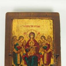 Arte: ICONO GRIEGO.SANTA MARÍA CON EL NIÑO Y ÁNGELES. ÓLEO SOBRE TABLA. CIRCA 1950.. Lote 47140068