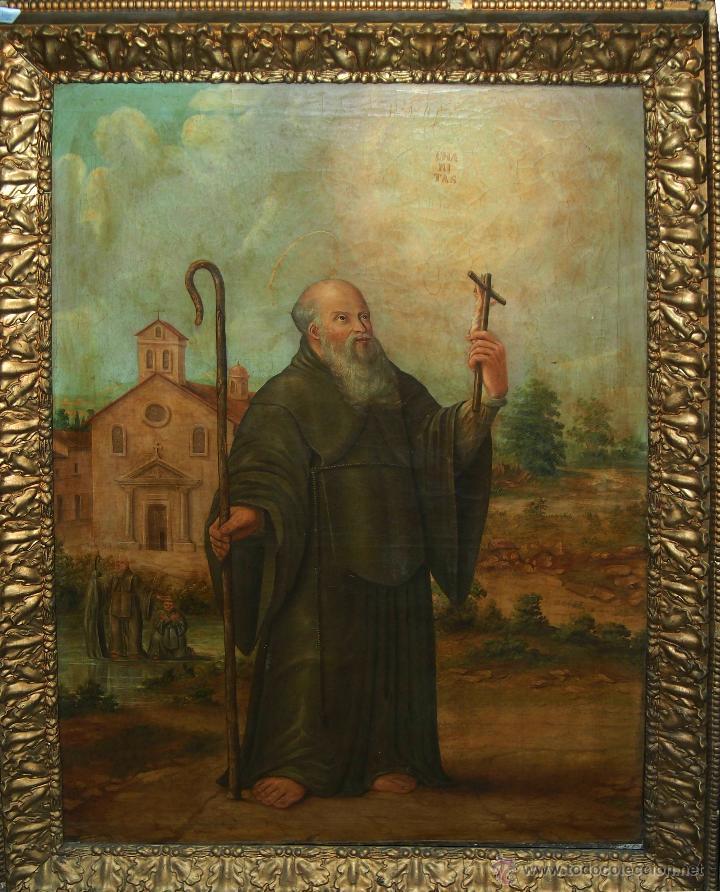 D3-002 - SAN ANTONIO ABAD. ÓLEO SOBRE TELA. SIGLO XVIII-XIX. (Arte - Arte Religioso - Pintura Religiosa - Oleo)