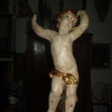 Arte: ANGEL DE YESO POLICROMADO Y DORADO. Lote 54845732