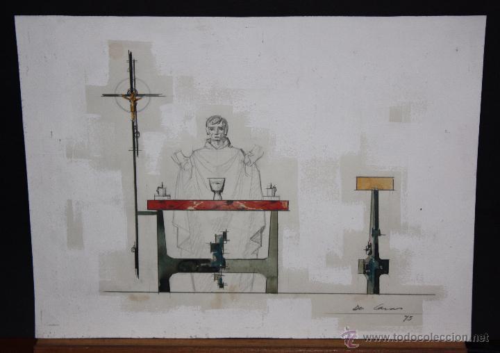 FIRMADO DE CASAS. TECNICA MIXTA SOBRE CARTULINA. ESCENA RELIGIOSA (Arte - Arte Religioso - Pintura Religiosa - Otros)