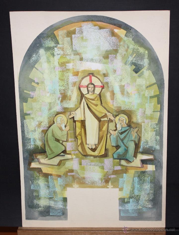 ANONIMO. TECNICA MIXTA SOBRE CARTULINA. COMPOSICION RELIGIOSA (Arte - Arte Religioso - Pintura Religiosa - Otros)