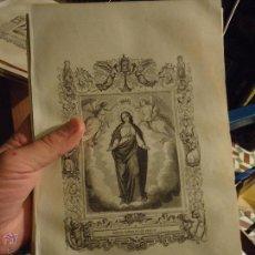 Arte: REF: KK - AÑO 1853 ORIGINAL GRABADO DE LA EPOCA RELIGIOSO -NUESTRA SEÑORA VIRGEN DE LOS ANGELES . Lote 54942470