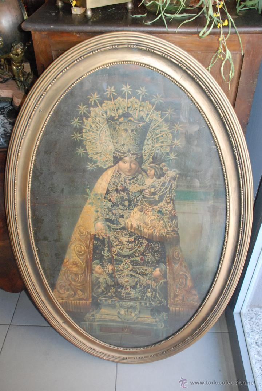 MUY ANTIGUA LÁMINA ENMARCADA DE LA VIRGEN DE LOS DESAMPARADOS (Arte - Arte Religioso - Pintura Religiosa - Otros)