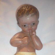 Arte: ANTIGUA FIGURA DEL NIÑO JESÚS EN ESCAYOLA DE BELLOSO. Lote 142307566