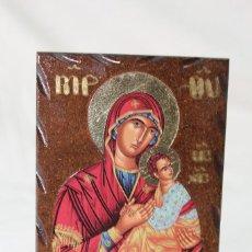 Arte: ICONO GRIEGO EN MADERA CON LAMINA Y LUSTRES DE ORO. Lote 69571743