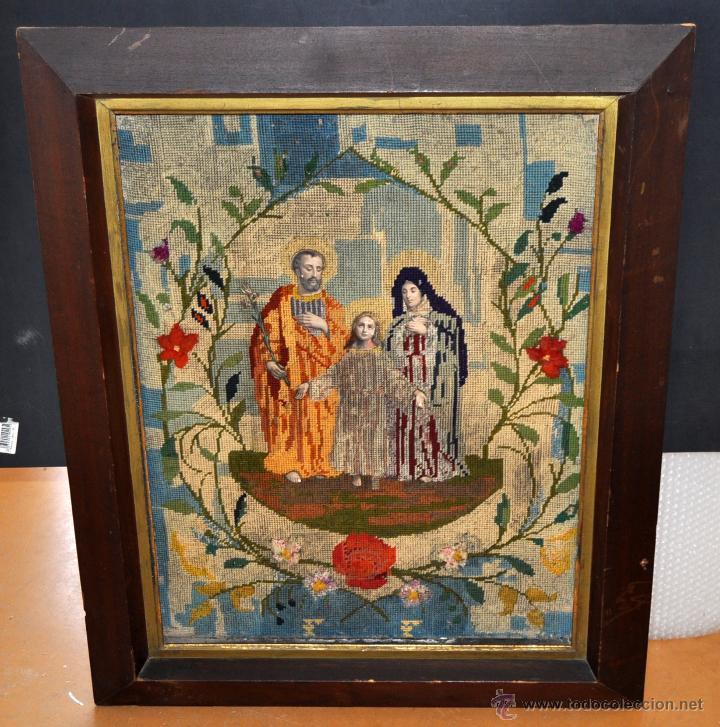 BONITA COMPOSICIÓN RELIGIOSA CONFECCIONADA A MANO EN PUNTO DE CRUZ DEL SIGLO XIX (Arte - Arte Religioso - Pintura Religiosa - Otros)
