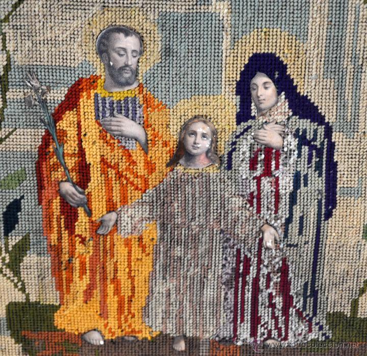 Arte: BONITA COMPOSICIÓN RELIGIOSA CONFECCIONADA A MANO EN PUNTO DE CRUZ DEL SIGLO XIX - Foto 2 - 55050923