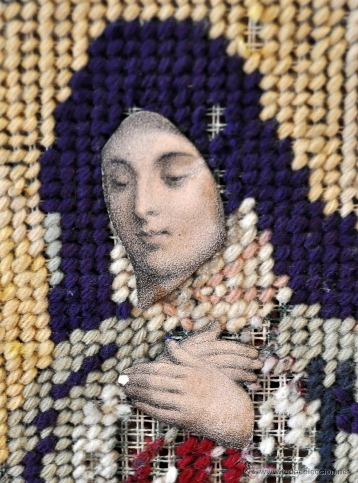 Arte: BONITA COMPOSICIÓN RELIGIOSA CONFECCIONADA A MANO EN PUNTO DE CRUZ DEL SIGLO XIX - Foto 5 - 55050923
