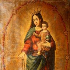 Arte: F3-041. VIRGEN DEL ROSARIO. ÓLEO SOBRE LIENZO. COLONIAS HISPANOAMERICANAS. XVII-XVIII.. Lote 55328399