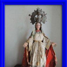 Arte: VIRGEN SIGLO XVIII PAPIER MACHE POLICROMADO. Lote 55862888