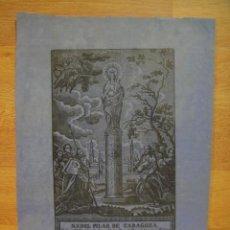 Arte: GRABADO SOBRE TELA DE LA VIRGEN DEL PILAR - . Lote 55898757