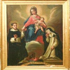 Arte: F1-019. LA VIRGEN ENTREGANDO EL ROSARIO A SANTO DOMINGO. ÓLEO SOBRE LIENZO. XVIII-XIX.. Lote 55876004