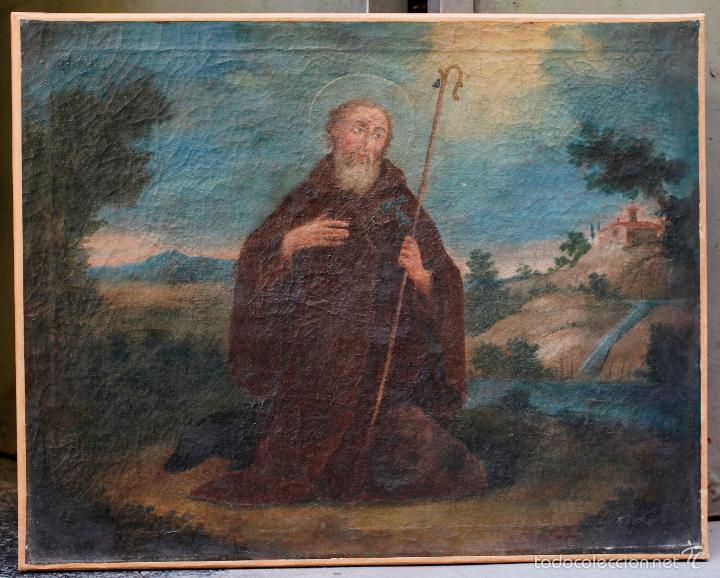 SAN ANTONIO ABAD, SIGLO XVIII. ÓLEO SOBRE TELA 46X57 CM. REENTELADO (Arte - Arte Religioso - Pintura Religiosa - Oleo)