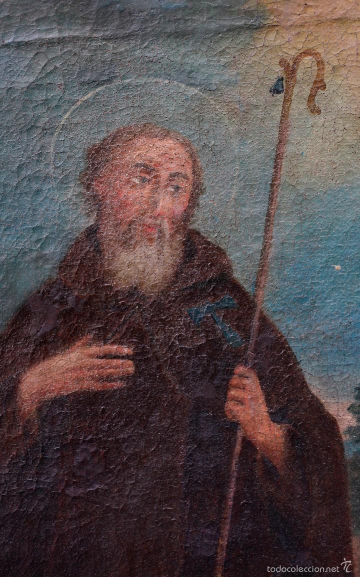 Arte: SAN ANTONIO ABAD, SIGLO XVIII. ÓLEO SOBRE TELA 46x57 cm. Reentelado - Foto 3 - 55921521