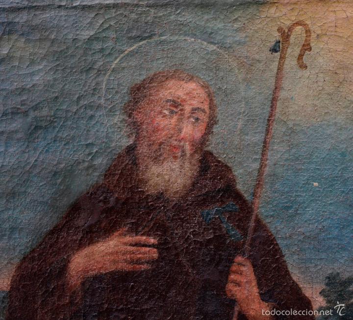 Arte: SAN ANTONIO ABAD, SIGLO XVIII. ÓLEO SOBRE TELA 46x57 cm. Reentelado - Foto 5 - 55921521