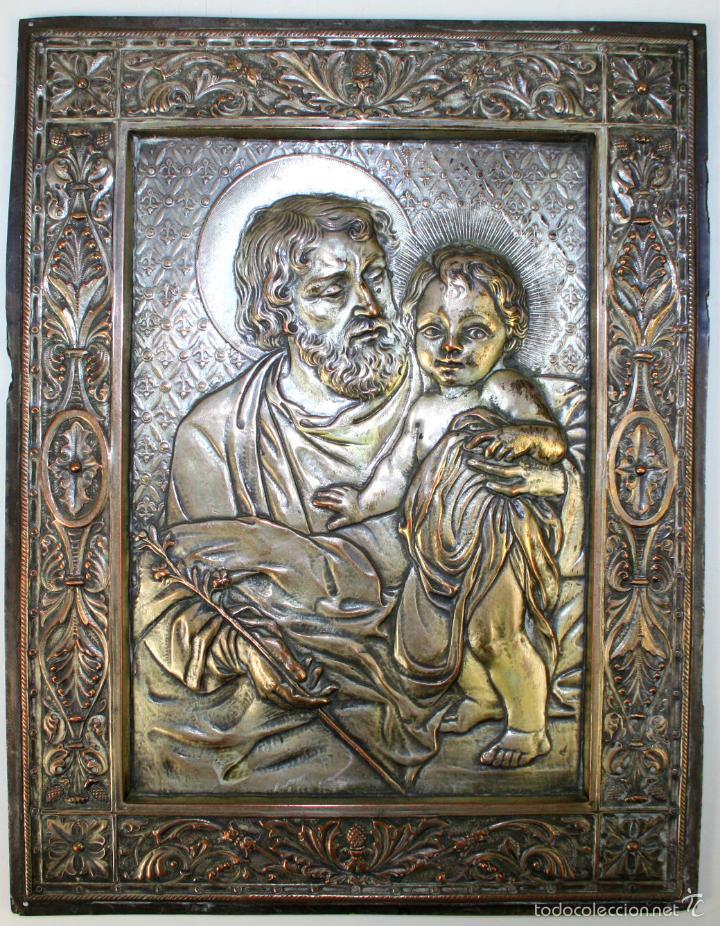 SAN JOSÉ Y EL NIÑO JESÚS. COBRE CHAPADO EN PLATA. CINCELADO. FRANCIA(?) XIX (Arte - Arte Religioso - Iconos)