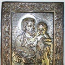 Arte: SAN JOSÉ Y EL NIÑO JESÚS. COBRE CHAPADO EN PLATA. CINCELADO. FRANCIA(?) XIX. Lote 55904396