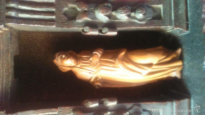 Arte: IMAGEN DE DOLOROSA EN TALLA DE MADERA DE BOJ CON ALTAR DE ROBLE SS. XVI XVII BELGICA - Foto 2 - 56045024