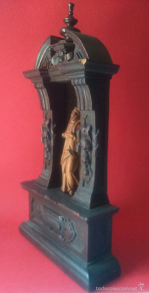 Arte: IMAGEN DE DOLOROSA EN TALLA DE MADERA DE BOJ CON ALTAR DE ROBLE SS. XVI XVII BELGICA - Foto 3 - 56045024