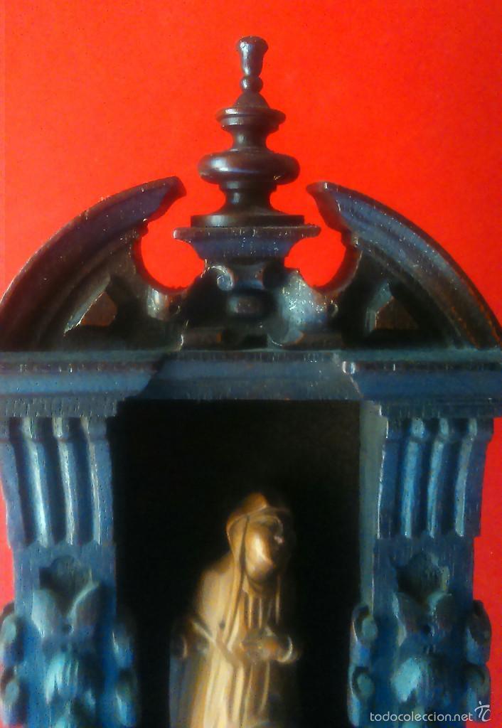 Arte: IMAGEN DE DOLOROSA EN TALLA DE MADERA DE BOJ CON ALTAR DE ROBLE SS. XVI XVII BELGICA - Foto 4 - 56045024