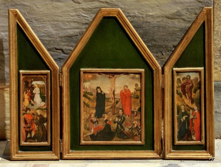 BONITO TRÍPTICO RELIGIOSO - MADERA - IMÁGENES RELIGIOSAS - LÁMINAS - NACIMIENTO - CRISTO EN LA CRUZ (Arte - Arte Religioso - Trípticos)