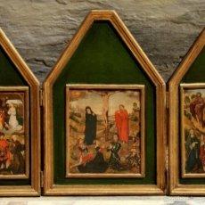 Arte: BONITO TRÍPTICO RELIGIOSO - MADERA - IMÁGENES RELIGIOSAS - LÁMINAS - NACIMIENTO - CRISTO EN LA CRUZ. Lote 56051263