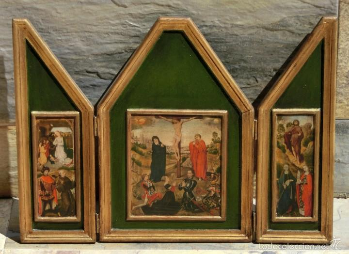 Arte: BONITO TRÍPTICO RELIGIOSO - MADERA - IMÁGENES RELIGIOSAS - LÁMINAS - NACIMIENTO - CRISTO EN LA CRUZ - Foto 8 - 56051263