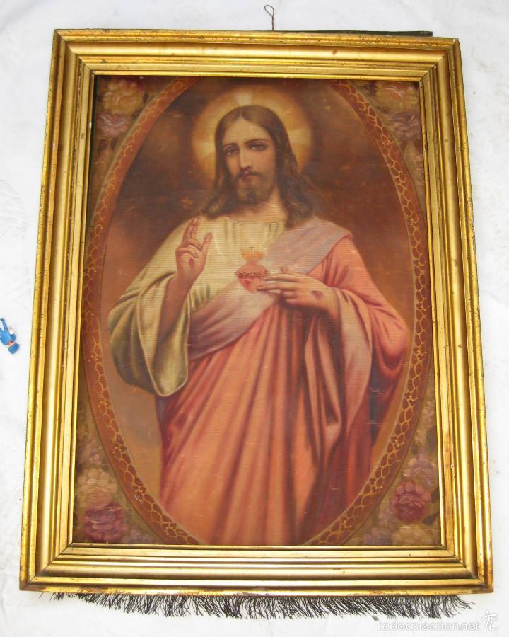 MARAVILLOSA GRAN PINTURA OLEO SAGRADO CORAZON DE JESUS SOBRE TELA AÑOS 40 (Arte - Arte Religioso - Pintura Religiosa - Oleo)