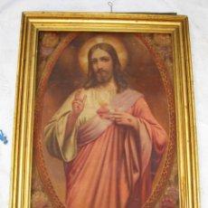Arte: MARAVILLOSA GRAN PINTURA OLEO SAGRADO CORAZON DE JESUS SOBRE TELA AÑOS 40. Lote 56078758