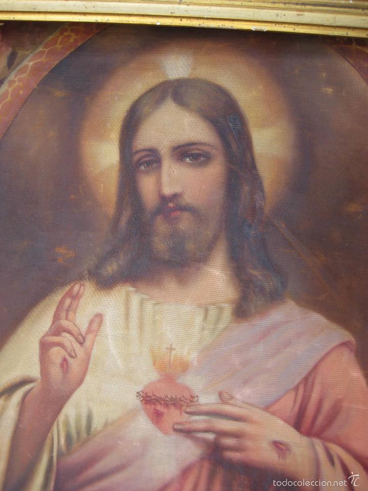 Arte: MARAVILLOSA GRAN PINTURA OLEO SAGRADO CORAZON DE JESUS SOBRE TELA AÑOS 40 - Foto 2 - 56078758