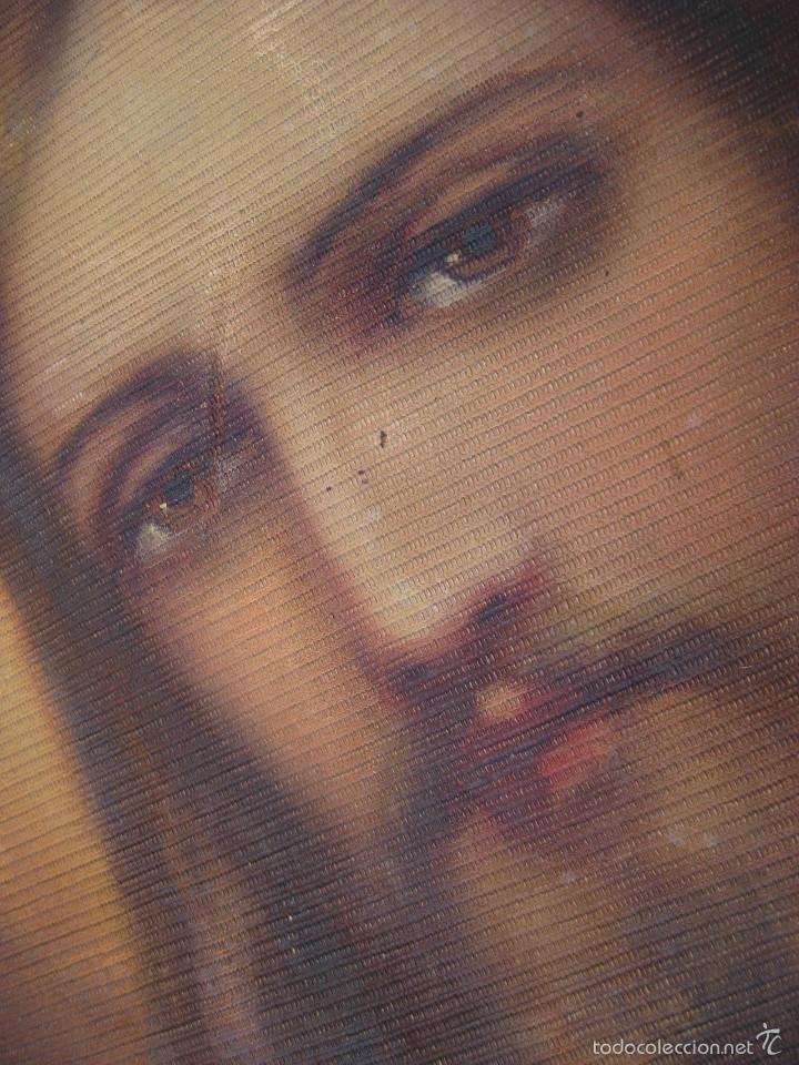 Arte: MARAVILLOSA GRAN PINTURA OLEO SAGRADO CORAZON DE JESUS SOBRE TELA AÑOS 40 - Foto 3 - 56078758