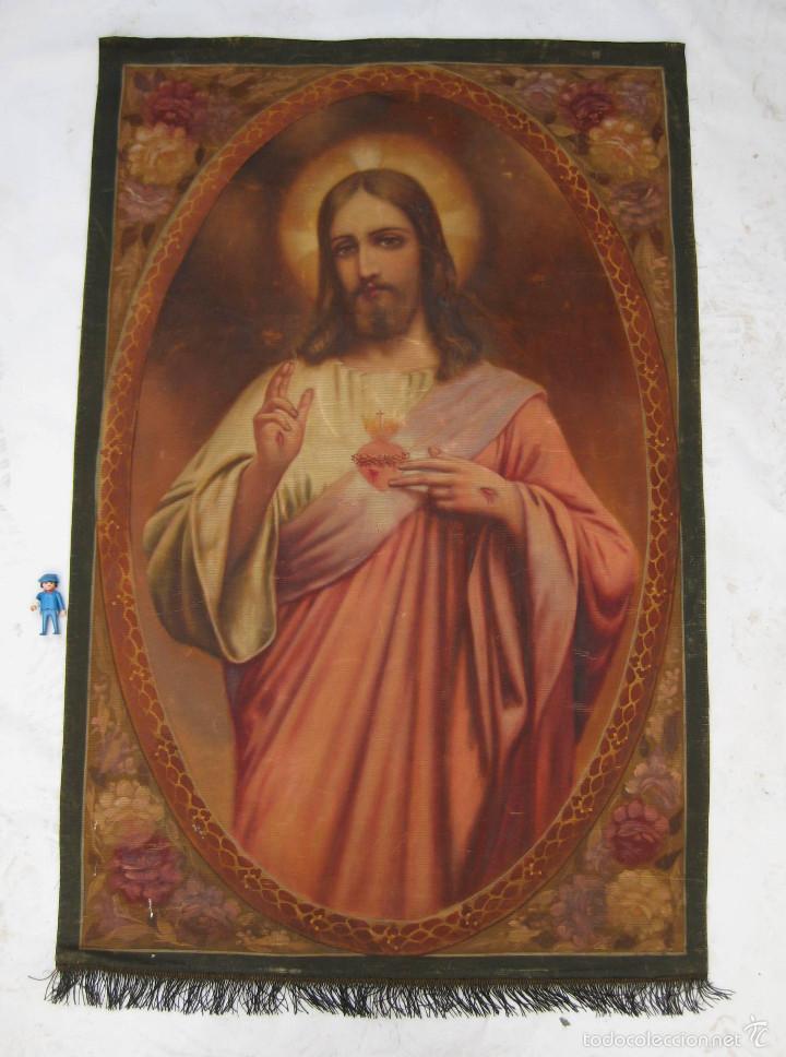 Arte: MARAVILLOSA GRAN PINTURA OLEO SAGRADO CORAZON DE JESUS SOBRE TELA AÑOS 40 - Foto 4 - 56078758