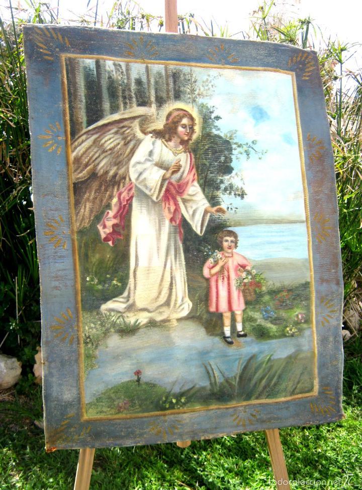 ANTIGUA PINTURA OLEO SANTO ANGEL DE LA GUARDA O CUSTODIO - TAPIZ PINTADO 100 X 80 CM (Arte - Arte Religioso - Pintura Religiosa - Oleo)