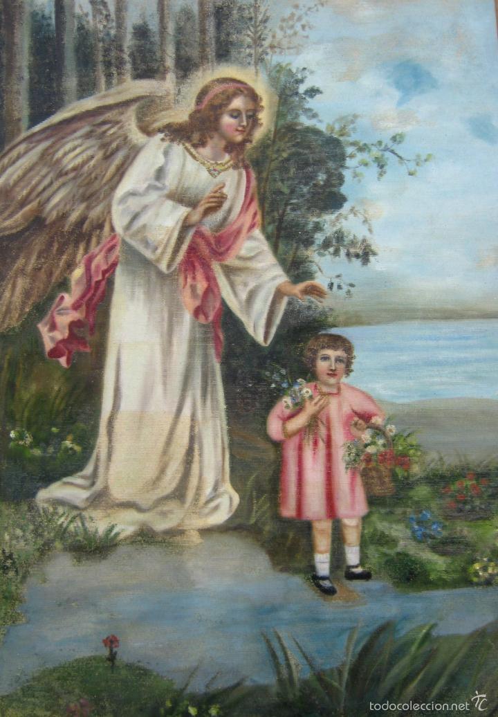 Arte: Antigua pintura oleo Santo Angel de la Guarda o Custodio - tapiz pintado 100 x 80 cm - Foto 2 - 176315473